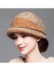 Hat Sombrero de lana de lana de invierno de la mujer Sombrero de lana de otoño e invierno mantener caliente ( Color : Marrón )