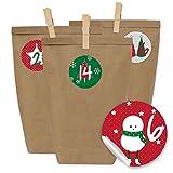 Papierdrachen 24 Adventskalender Kraftpapiertüten, Zahlenaufkleber und Klammern - DIY Set zum selber Basteln und zum Befüllen für Kinder und Erwachsene - Design 15