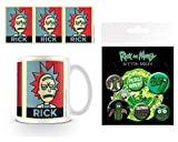 Set: Rick and Morty, Rick Campaign Foto-Tasse Kaffeetasse (9x8 cm) Inklusive 1 Rick and Morty Button Pack (15x10 cm)