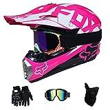 GLR Adult Motocross Helm MX Motorradhelm-Roller ATV Helm Straßenrennen D.O.T Zertifiziert Pink mit Handschuhen Windproof Maske Goggle-4-tei-Stück,M57~58CM
