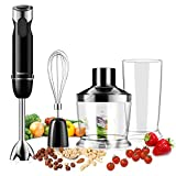 Willsence Stabmixer, Hand blender, 600 Watts 4-in-1 Powerful mixer with 500ml Food Processor, Whisk Attachment and 600ml Beaker