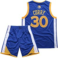 Traje de Baloncesto de Verano de la NBA Warriors Curry 30th Jersey Bordado,Blue,