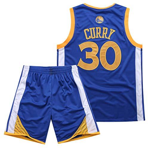 Traje de Baloncesto de Verano de la NBA Warriors Curry 30th Jersey Bordado,Blue,L