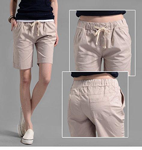 Minetom Femmes Shorts en lin Courts Sport Casual Rétro été Taille Haute Pantalons Couleurs de Bonbons Beige