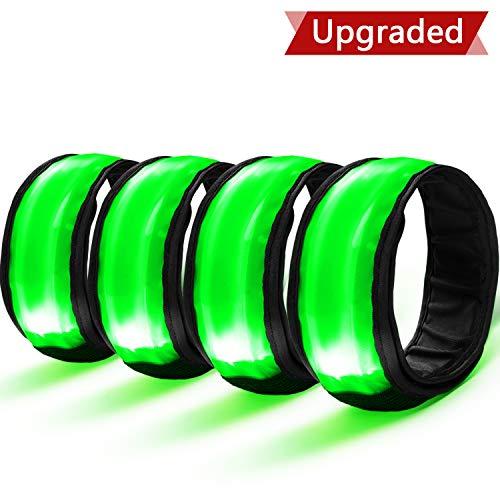 Sicherheit Reflektor Armband mit Drei Beleuchtungs modi LED Slap Armbänder/Armband/Leuchtband/Reflektorband für Laufen Joggen Radfahren Hundewandern Running und Outdoor Sports ()