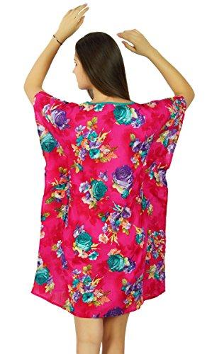 Bimba Frauen kurze Baumwollblumen Kaftan rosa Kleidung Schlaf Tragekomfort Kaftan coverup Rosa