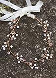 Handmadejewelrylady, Brautschmuck-Diadem mit Blätterverzierung in Roségold, Haarband für Hochzeiten, Stirnband, Haarschmuck für Frauen