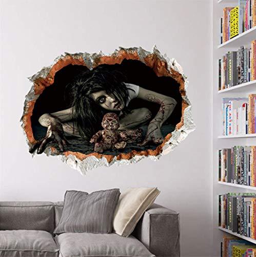 Halloween Decor 3D Ghost Wandaufkleber Aufkleber Abnehmbare Horror Tapete Dekorative Wand Horror Tür Aufkleber Dekoration