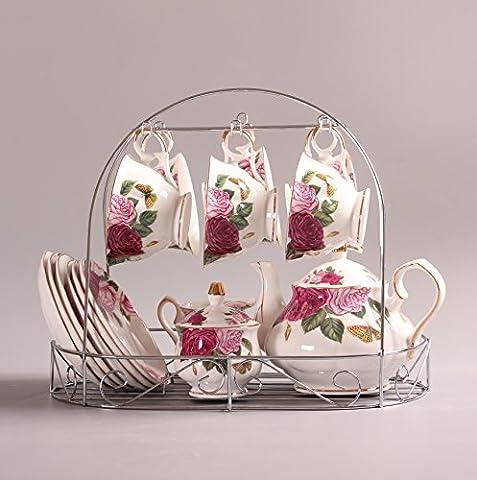 Service à thé Européen Porcelaine De Style, Le Papillon Se Attarde Sur La Fleur Imprimée Porcelaine Céramique Tasse De Thé Avec Couvercle Et Soucoupe, le support de métal incluspas compris
