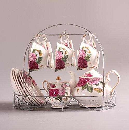 juego de té Europeo De Porcelana De Estilo, La Mariposa Se Detiene En La Flor Impresa De Cerámica De Porcelana Taza De Té Con Tapa Y Platillo, el sostenedor mental está incluido