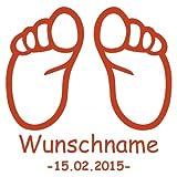 plot4u Baby Füße mit Name und Geburtsdatum Wandtattoo Wandaufkleber Wandsticker in 8 Größen und 21 Farben (93x100cm kupfermetalleffekt)