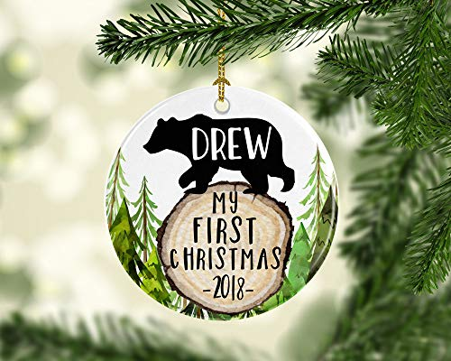 Dozili Personalisiertes First Christmas Ornament Baby 's First Christmas Baby Ornament Baby Bär Ornament Rustikale Ornamente