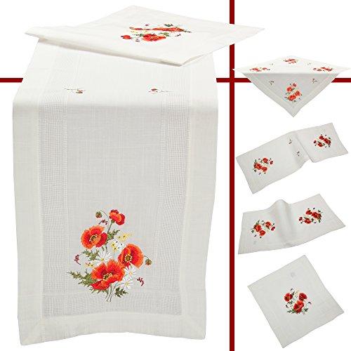 tschmohn Blume Frühling Stickerei Tischdecke Mitteldecke ca. 85 x 85 cm Polyester, Weiß (Esstisch Läufer Frühling)