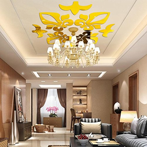 Indexp 3D Removable Mirror Floral Wall Sticker Vinyl Art Home Room Decors Decals(40x60cm) (Gold /58x58cm)