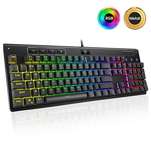 Mechanische Tastatur RGB, PICTEK Ganz metallpaneel, Anpassbare beleuchtet Gaming Tastatur(QWERTZ), Red Schalter Keyboard, Programmierbar Mikro, 19 Anti-Ghosting, PC|Desktop für Gamer