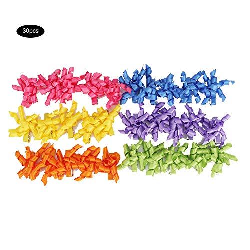 Mootea 30pcs Polyester-Haustier-lockiges Band-Haar-Klipp-Zusätze, die Haarnadeln für Hundekatzen-Welpen pflegen -