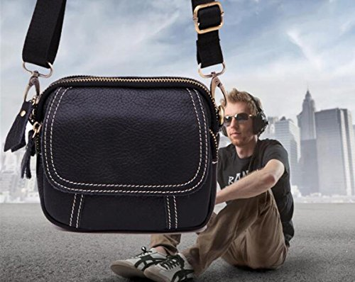 Herrenbrusttasche Lässig Leder Rucksack Umhängetasche Taschen Geschäft,Coffee black