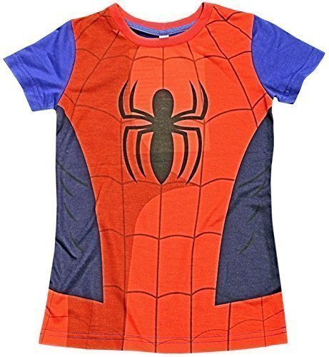 Shirt Ironman Kostüme (Kinder Umhang T-Shirt Superheld Jungen Kostüm Iron Man Superman Batman Official Starwars Marvel Avengers Verschiedene Größen - Spiderman T-Shirt, EU)