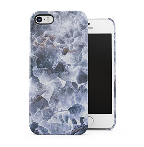 Rough Sapphire Marble Stone Print Apple iPhone 5 , iPhone 5S , iPhone SE Snap-On Hard Plastic Protective Shell Case Cover Custodia Graphite Marble