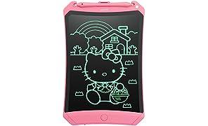 NEWYES Tableta de Escritura LCD 8,5 Pulgadas, con Tecla de Bloqueo, Imanes, Lápiz, Ideal para Niños y Adultos Uso en el Hogar, la Escuela y la Oficina (Rosa)