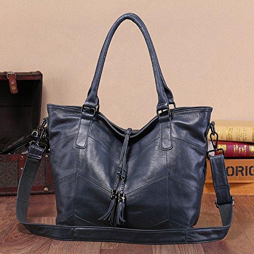 GUANGMING77 Borsetta Donna _ Inverno Bag Ladies Borsetta Tracolla,Nero Gray blue color