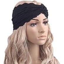 Encaje Twist pañuelo para la cabeza diadema deporte Yoga turbante Pañuelo en la cabeza pelo banda para la cabeza para las mujeres, negro