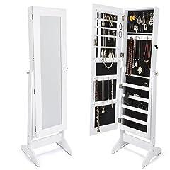 Idea Regalo - Armadio Specchio Portagioie gioielli con Specchio XXL 160 cm , bianco laccato e velluto nero