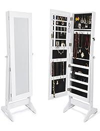 Due-home - Espejo joyero XXL 160 cm, color Lacado Blanco y terciopelo Negro