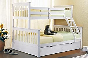 Triple Bunk Beds - White Wooden Three Sleeper With Drawers - New Bunk Bed