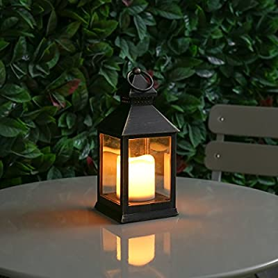Outdoor Candle Lantern - Battery Powered - Metal Effect - Warm White LED - [Colour] by Festive Lights from Festive Lights