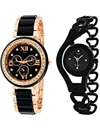 Xforia Girls Watch Fashion Black & Rose Gold Metal Analog Watches For Women Pack Of 2
