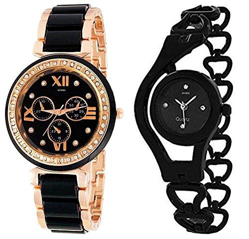 Xforia Girls Watch Fashion Black & Rose Gold Metal Analog Watches for Women Pack of 2
