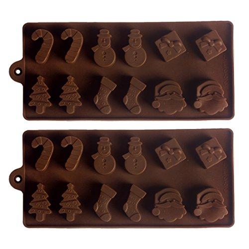 Andux 2 pezzi Stampini flessibili in silicone cioccolata caramelle cubi di ghiaccio cottura/QKLMJ-02