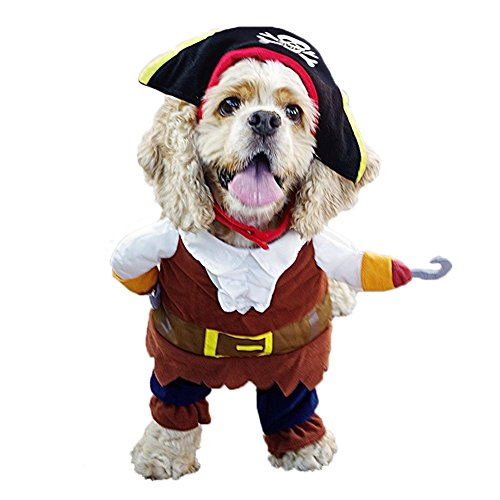 REXSONN Hunde Kleider Haustier Katzen Kostüm Bekleidung Hund Kleidung Party Mantel Caribbean Pirate Design Pet Dog Cat Costume Cosplay S/M/L/XL ()