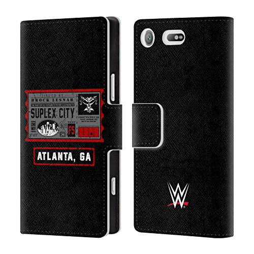 Head Case Designs Offizielle WWE Brock One Way Ticket Atlanta 2018/19 Superstars Leder Brieftaschen Huelle kompatibel mit Sony Xperia XZ1 Compact (Wwe Tickets)