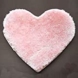 ZeHui Super Soft Heart Shaped Rug, Anti-Skid Floor Mat, Strong Absorbent Water Mat for Home 30cmx40cm with 7 Colors for Choice Pink 30 * 40CM