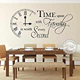 Graphics 'n' Tees Time Spent with Family Inspirational Wall Sticker Quote, Kitchen Dining Room Home Wall Art Decor Decal - In Black - Other Colours Available (Medium 570mm x 255mm)