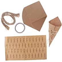 MagiDeal 50 Piezas Cajas de Caramelos de Papel Kraft Cajas de Regalos Forma de Conos Decoración de Tabla de Boda Negro/Marrón - Marrón