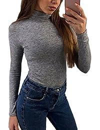 Monocolor Cuello Alto Manga Larga Mujer Vintage Camiseta Blusa