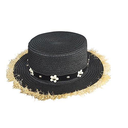 SHINA chapeau de paille classique plage vacances d'ete Noir