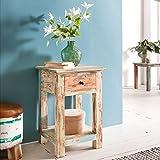 FineBuy Design Beistelltisch YEMA 40 x 40 x 60 cm Massiv mit 1 Schublade | Telefontisch Holz Shabby Vintage | Holztisch Quadratisch Modern Bunt