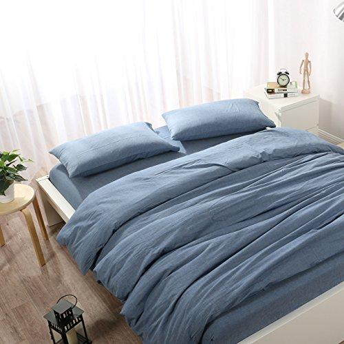 Beauty Decor Minimalistischen Stil Bettbezug Set Denim Blau Betten Sets Leicht Mikrofaser Tröster Bezug mit kissenrollen Queen Size Denim-Blau -