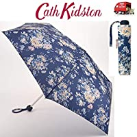 Cath Kidston York Flowers Navy Minilite Handbag Sized Folding Umbrella With Matching Cover
