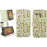 Emartbuy® Motorola Moto G Luxuxmappen Case Tasche Hülle Floral Rosa / Grün Mit Kreditkartensteckplätze