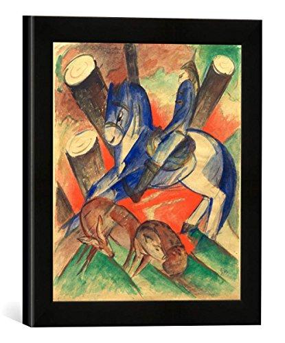 Gerahmtes Bild von Franz Marc Der heilige Julian, Kunstdruck im hochwertigen handgefertigten Bilder-Rahmen, 30x30 cm, Schwarz matt