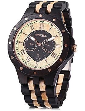 [Gesponsert]BEWELL ZS-W116C Holzuhr Herren Quarz Datum Tage Display R?misch Zifferblatt uhr Armbanduhr