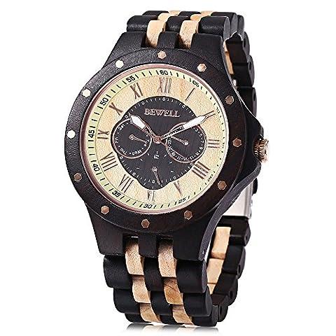 BEWELL ZS-W116C Holzuhr Herren Quarz Datum Tage Display R?misch Zifferblatt uhr Armbanduhr