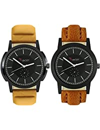 Talgo 2017 New Collection Foxter (combo Of 2) Black Round Shapped Dial Leather Strap Fashion Wrist Watch For Boys...