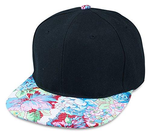 Sense42 | Snapback Cap im Blumen Design | Unisex, für Damen und Herren | One Size | größemverstellbar | großer Schirm | schwarz mit Schirm im Flower Motiv