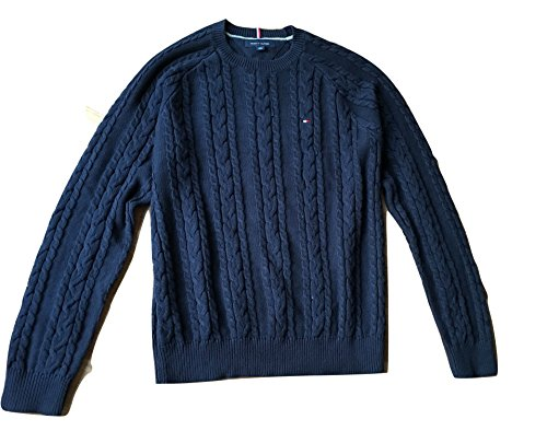 Tommy Hilfiger Cable Knit Pullover (Tommy Hilfiger Pullover, Men's Crew Neck Cable Knit Sweater, Large)